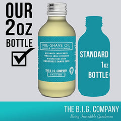 The B.I.G. Company - Pre Shave Oil - 60ml / 2oz Shave Oil - Use with Straight Edge or Safety Razor - Classic Barbershop Scent - Shaving Guide ebook Included: Beauty
