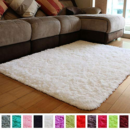 PAGISOFE Soft Comfy White Area Rugs for Bedroom Living Room Fluffy Shag Fur Carpet for Kids Nursery Plush Shaggy Rug Fuzzy Decorative Floor Rugs Contemporary Luxury Large Accent Rug 4' x 5',(White): Gateway
