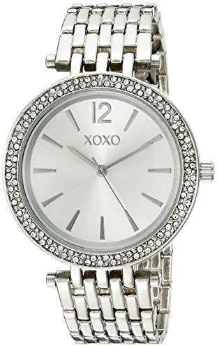 XOXO Women's Analog Watch with Silver-Tone Case, Crystal-Inset Bezel, Silver-Tone Sunray Dial - Official XOXO Woman's Watch, Fold-Over Clasp with Double Push-Button Safety - Model: XO263: Clothing