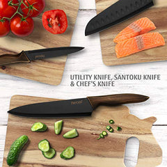 Hecef Kitchen Knife Set, Stainless Steel Non Stick Black Color Coating Blade Knives, Includes 8'' Chef Knife, 8'' Bread Knife, 7'' Santoku Knife, 5''Utility Knife and 3.5'' Paring Knife: Gateway