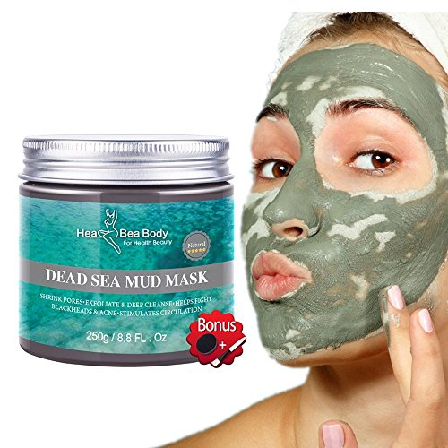 HeaBea Body Clear face Skin Mask Efficiently Acne blackhead remover, Reduces Pores & Wrinkles Dead Sea Mud Masks Natural Minerals Treatment For All kinds Skin Type Beauty Care/with Essential tool : Beauty