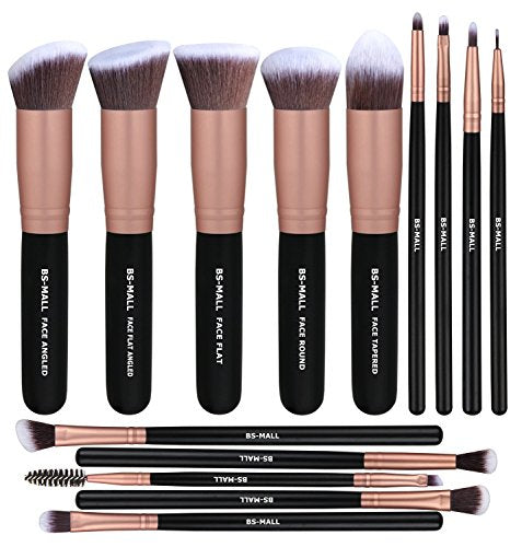 BS-MALL Makeup Brushes Premium Synthetic Foundation Powder Concealers Blending Eye Shadows Face Makeup Brush Sets(14 Pcs, Rose Golden): Beauty