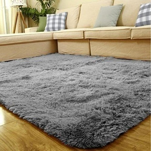 ACTCUT Super Soft Indoor Modern Shag Area Silky Smooth Fur Rugs Fluffy Rugs Anti-Skid Shaggy Area Rug Dining Room Home Bedroom Carpet Floor Mat 4- Feet by 5- Feet (Grey): Gateway