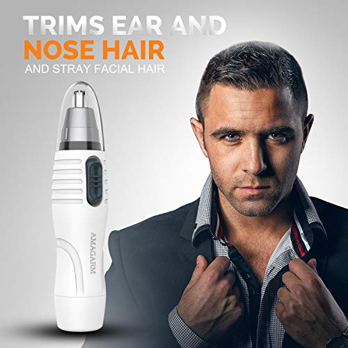 Updated 2019 Version Nose Hair Trimmer for Men & Women, AMAGARM Electric Nose and Ear Hair Trimmers/Clippers Removal, Wet/Dry, PX7 Waterproof , Mute Motor, Double-Edge Stainless Steel Blades: Beauty