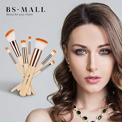 BS-MALL Makeup Brush Set 15 Pcs Wooden Eyeshadow Lip Foundation Makeup Brush Set: Beauty