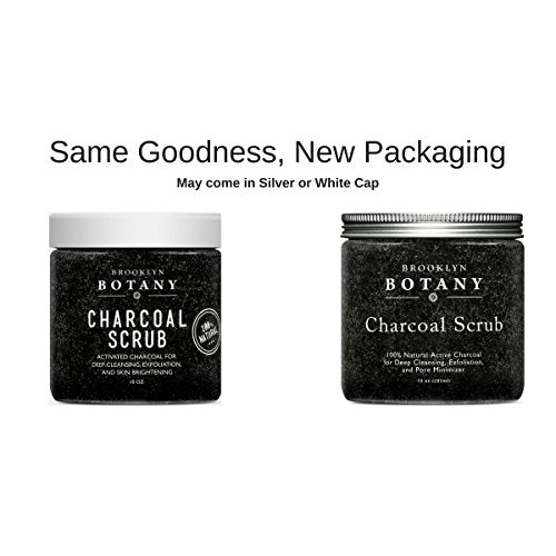 Activated Charcoal Scrub 10 oz - For Deep Cleansing & Exfoliation - Pore Minimizer & Reduces Wrinkles, Blackhead Remover & Anti Cellulite Treatment - Great Body Scrub & Facial Cleanser : Beauty