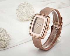 Amazon.com: Women's Men's Square Case Analog Display Quartz Rose Gold Stainless Steel Mesh Bracelet Luxury Watch: Clothing