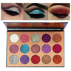 Beauty Glazed Ultra Pigmented Glitters No Glitter Glue Required Powder Glitter Eyeshadow Palette Creamy Glitter Pro Makeup Palettes for Glitter Eyes Shimmer and Gorgeous 15 Colors Waterproof Magnetic : Beauty