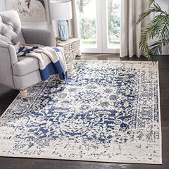 Safavieh Madison Collection MAD603D Cream and Navy Distressed Medallion Area Rug (3' x 5'): Gateway
