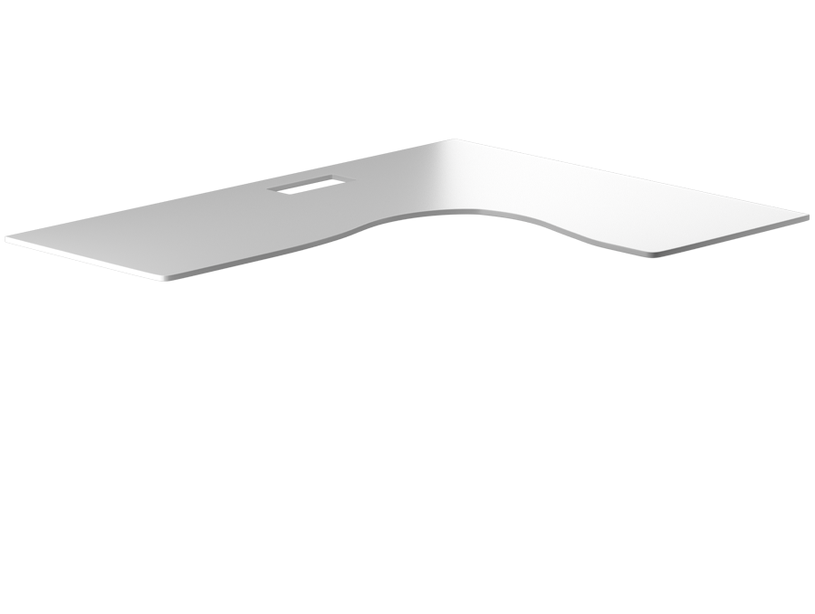 cool white l-shaped tabletop