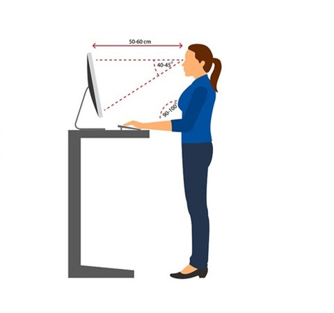 Instruction of properly aligning elbows and wrists at a standing desk