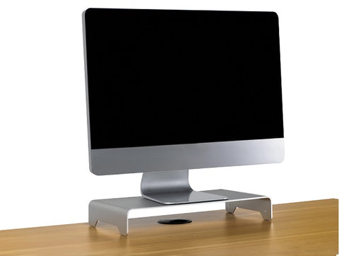 Photo of a slim aluminum monitor riser stand
