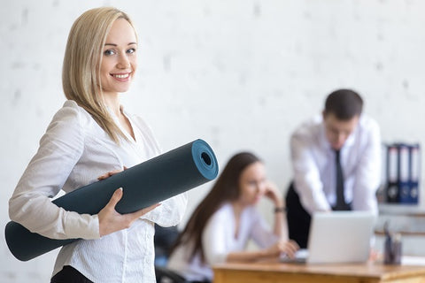 Woman going to exercise in the office to reduce stress