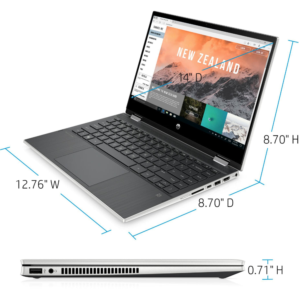 "HP Pavilion x360 2-in-1 14"" Touch-Screen Laptop Intel Core i3 8GB Memory 128GB SSD Natural Silver"