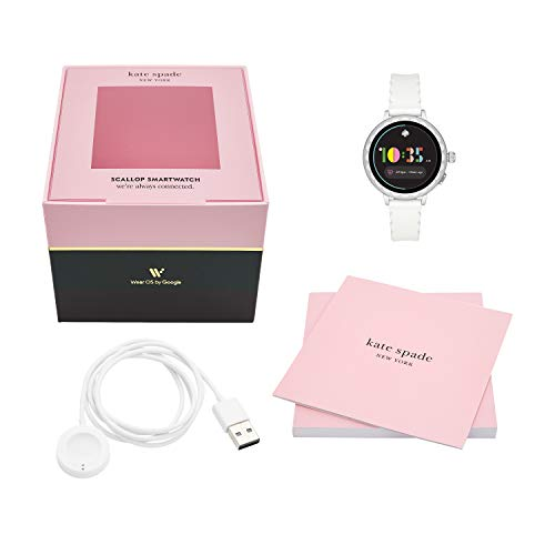 Kate Spade New York Women's Gen 4 Scallop 2 HR Heart Rate Silicone Touchscreen Smart Watch, Color: Silver, White (Model: KST2011)