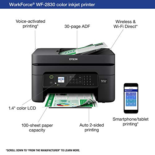Epson Workforce WF-2830 All-in-One Wireless Color Printer with Scanner, Copier and Fax
