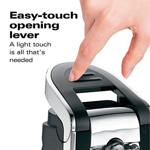 Hamilton Beach (76606ZA) Smooth Touch Electric Automatic Can Opener with Easy Push Down Lever, Opens All Standard-Size and Pop-Top Cans, Extra Tall, Black and Chrome