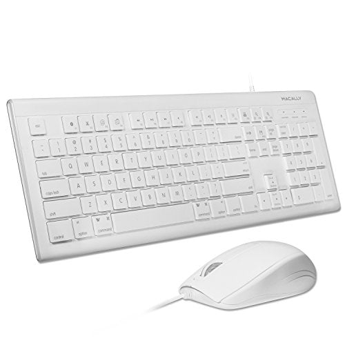Macally 104 Key USB Wired Keyboard w/Apple Shortcut Keys & 3 Button USB Optical Mouse Combo for Mac & PC