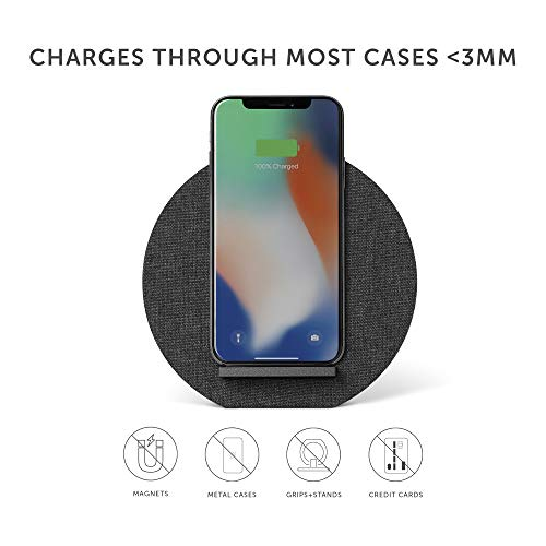 Native Union Dock Wireless Charger Stand - High Speed [Qi Certified] 10W Versatile Fast Wireless Charging Stand - Compatible with iPhone 11/11 Pro/11 Pro Max/Xs/XS Max/XR/X/8 Plus (Slate)