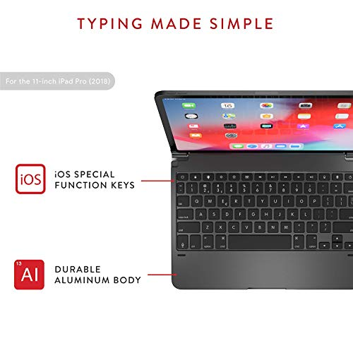 Brydge Pro 11.0 Keyboard for 11.0 inch iPad Pro 3rd Generation Model Aluminum Wireless Bluetooth Keyboard w/Backlit Keys Space Gray
