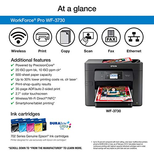 Epson WorkForce Pro WF-3733 Wireless All-in-One Color Inkjet Printer