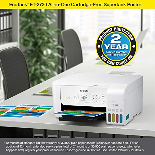 Epson EcoTank ET-2720 Wireless Color All-in-One Supertank Printer, Scanner, Copier White