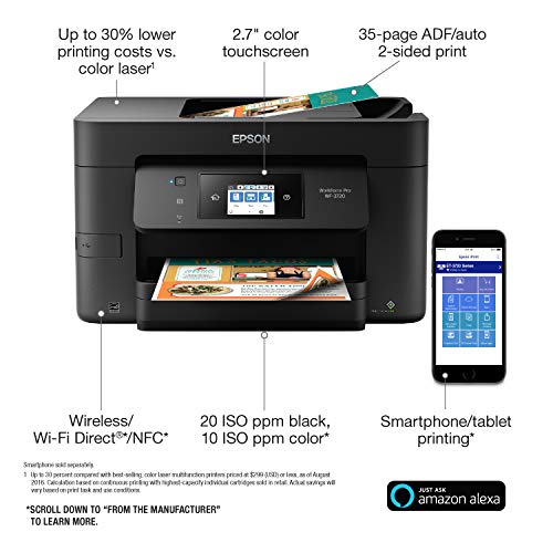 Epson WorkForce Pro WF-3720 Wireless All-in-One Color Inkjet Printer, Copier, Scanner