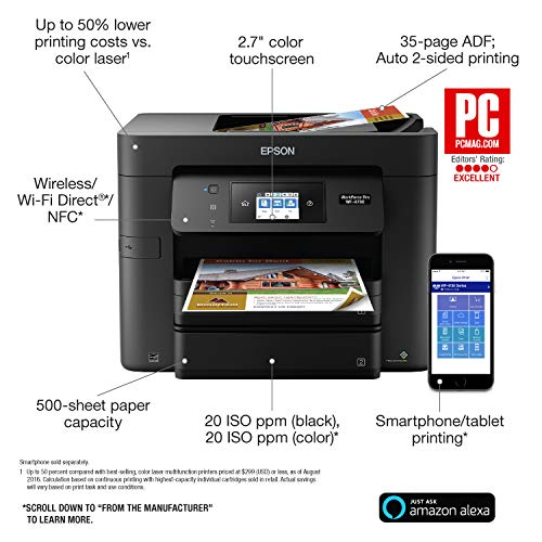 Epson WorkForce Pro WF-4730 Wireless All-in-One Color Inkjet Printer, Copier, Scanner with Wi-Fi Direct