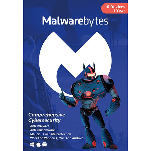Malwarebytes Premium 10 Device 1 YR (PC, Mac, Android) Retail Box