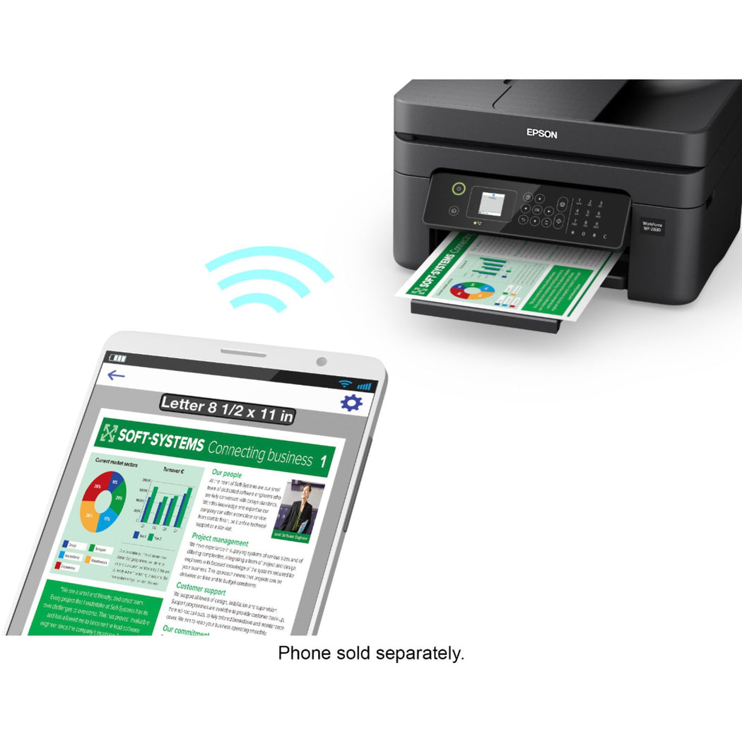 Epson Workforce WF-2830 All-in-One Wireless Color Printer, Scanner, Copier & Fax