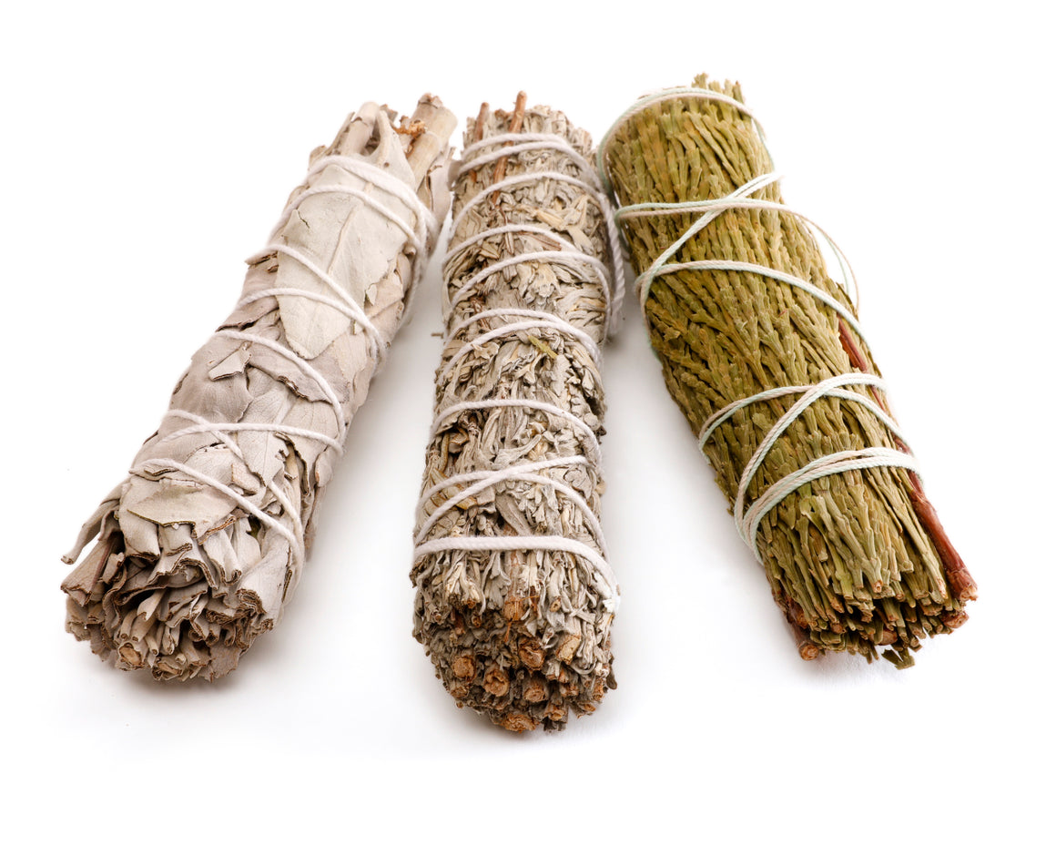 burning sage smudge stick set white sage, blue sage, cedar