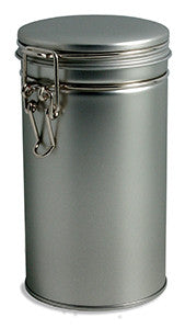 Steel hinged coffee and tea canister