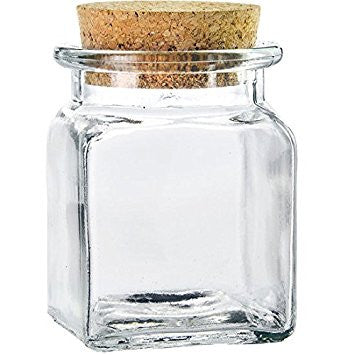 glass spice jar w cork top large - Glass Spice Jars