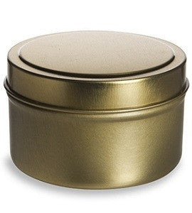 Gold metal round tea and spice tin