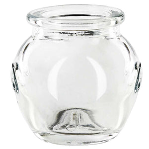 small recycled glass honey jar
