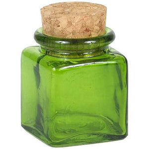 recycled glass square spice jar and cork top