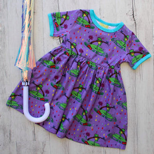 Coddi & Womple Rupert in the Rainbow Rain dress