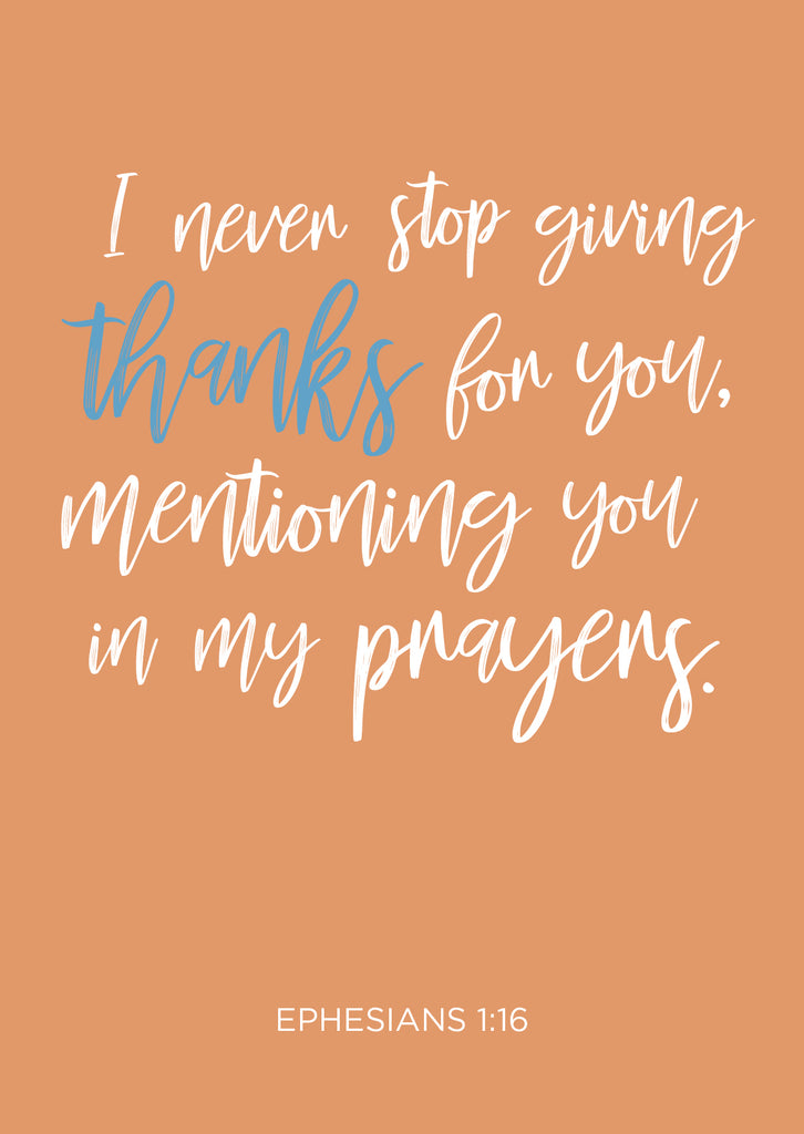 Thank you cards - Ephesians 1:16 (Pack of 6)