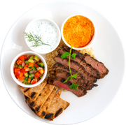 Get Crafted Meals Beef Shawarma with Steamed Brown Basmati Rice, Tzatziki, Hummus, Cucumber Tomato Relish + Whole Wheat Pita