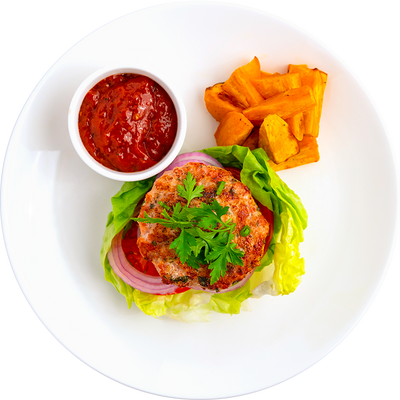 Get Crafted Meals Fresh Herb Turkey Burger with Lettuce, Tomato, Onion, Roasted Sweet Potatoes, and House Ketchup