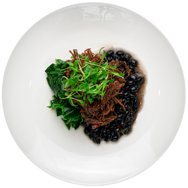 Get Crafted Meals BBQ Pulled Beef with Seasoned Black Beans and Braised Greens