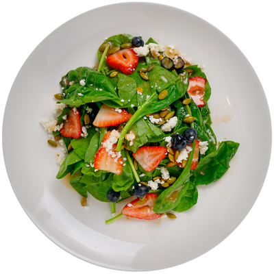 Get Crafted Meals Baby Spinach and Berry Salad with Strawberries, Blueberries, Feta, Pumpkin Seed and Citrus Vinaigrette