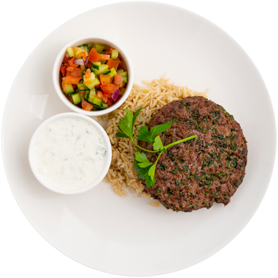 Get Crafted Meals Beef Koobideh Patties with Steamed Basmati Rice, Cucumber Tomato Relish, and Tzatziki Sauce