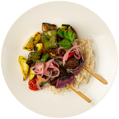 Beef Shish Kabobs with Steamed Basmati Rice, Grilled Mixed Vegetables, and Pickled Onion