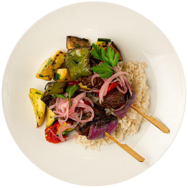 Get Crafted Meals Beef Shish Kabobs with Steamed Basmati Rice, Grilled Mixed Vegetables, and Pickled Onion