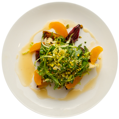 Get Crafted Meals Roasted Beet, Arugula, and Brussels Sprouts Salad with Pistachios, Oranges, and Champagne Vinaigrette