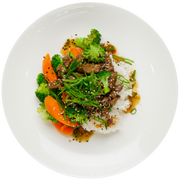 Get Crafted Meals Broccoli Beef with Steamed Jasmine Rice, Stir Fry Vegetables, Gluten Free Tamari Sauce, and Green Onion