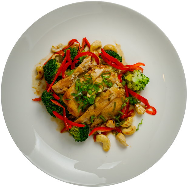 Get Crafted Meals Cashew Chicken with Stir Fry Vegetables, Steamed Jasmine Rice, Gluten Free Tamari Sauce and Scallions