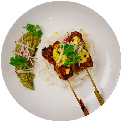 Get Crafted Meals Chicken Al Pastor Kabobs with Steamed White Rice, Mango Salsa, Shaved Radish and Avocado Tomatillo Salsa