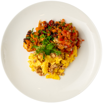 Get Crafted Meals Chicken Chorizo Scramble with Roasted Cauliflower Hash and Pico De Gallo